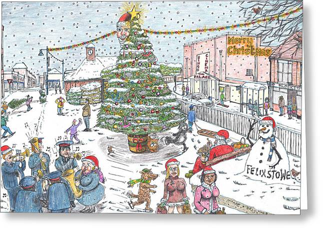 Trees In Snow Drawings Greeting Cards - Festive Frolics in Felixstowe Greeting Card by Steve Royce Griffin