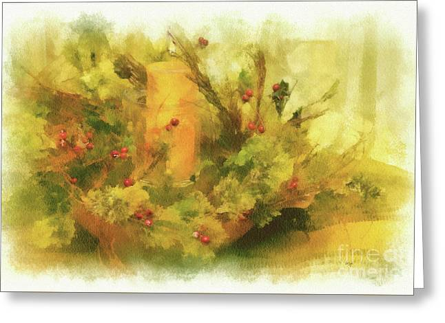 Festive Holiday Candle Greeting Card by Lois Bryan