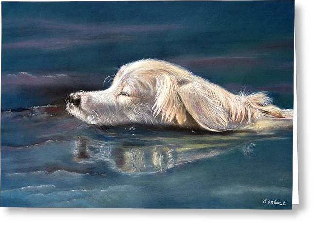 Labradors Pastels Greeting Cards - Fetch Greeting Card by Ceci Watson