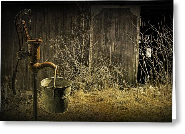 Fetching Water From The Old Pump Greeting Card by Randall Nyhof