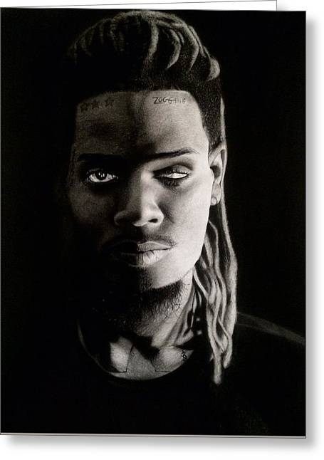 Hyperrealistic Greeting Cards - Fetty Wap Drawing Greeting Card by Angelee Borrero