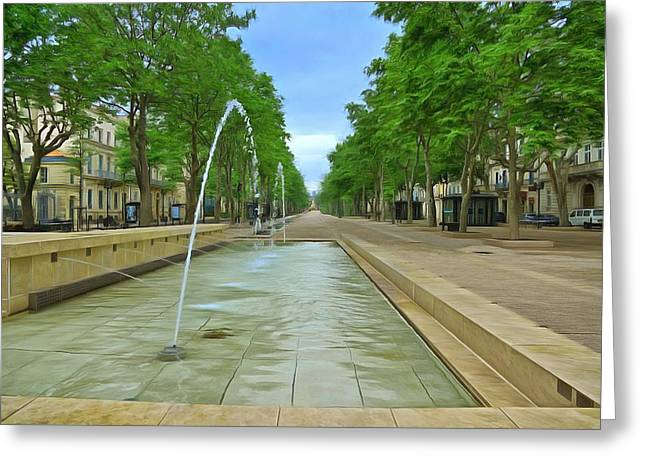 Europe Mixed Media Greeting Cards - Feucheres Avenue Nimes Greeting Card by Scott Carruthers