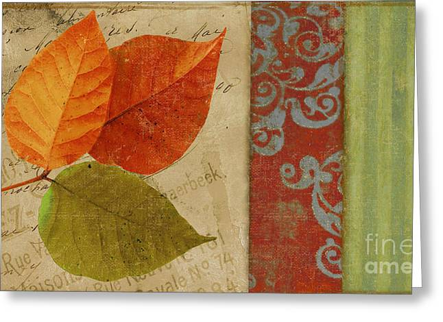 French Script Greeting Cards - Feuilles II Greeting Card by Mindy Sommers
