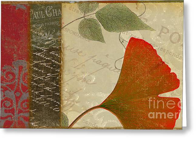 French Script Greeting Cards - Feuilles  Greeting Card by Mindy Sommers