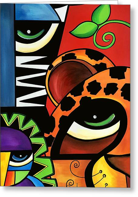 Abstract Style Greeting Cards - The Trio Greeting Card by Pam Reinke