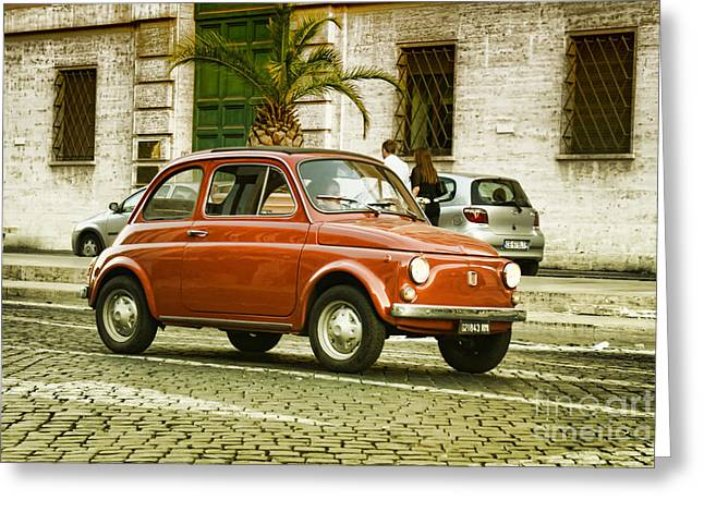 Beautiful Car Greeting Cards - Fiat 500 Greeting Card by Hristo Hristov