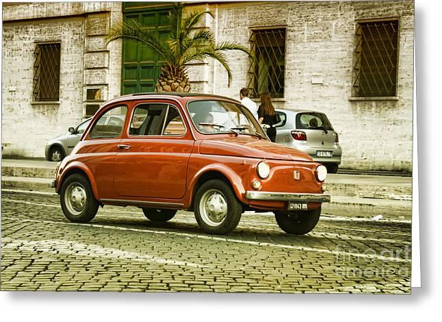 Beautiful Car Greeting Cards - Fiat 500 Greeting Card by Hristo Hristov