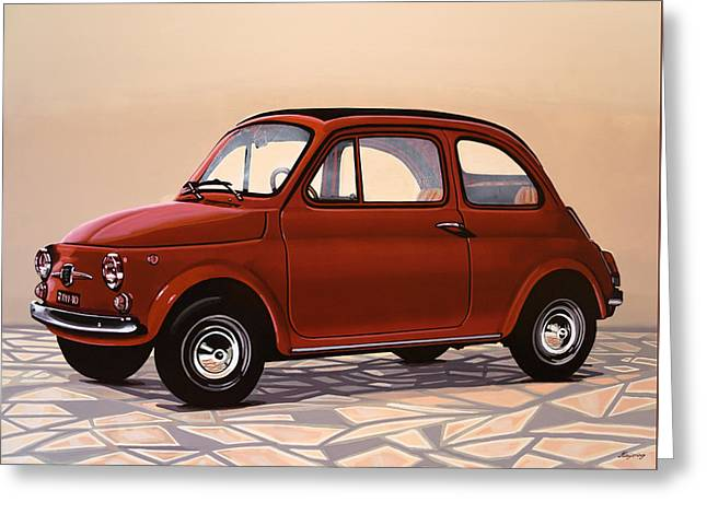 Fiat 500 1957 Painting Greeting Card by Paul Meijering