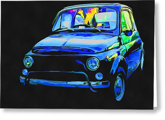 Fiat 500 Greeting Cards - Fiat 500 Pop Art Greeting Card by Edward Fielding
