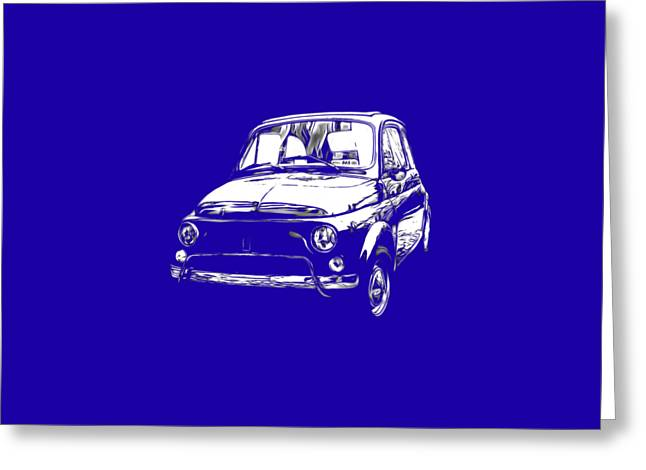 T Shirts Drawings Greeting Cards - Fiat 500 Tee Greeting Card by Edward Fielding