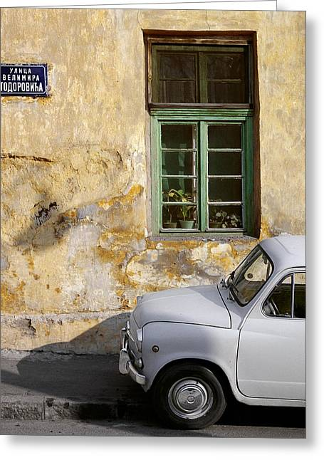 Entranceway Greeting Cards - Fiat 600. Belgrade. Serbia Greeting Card by Juan Carlos Ferro Duque
