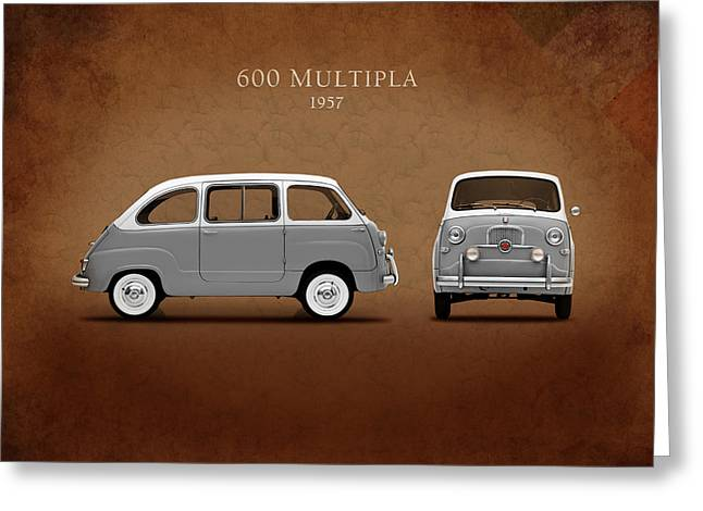 Classic Fiat Greeting Cards - Fiat 600 Multipla 1957 Greeting Card by Mark Rogan