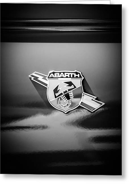 Classic Fiat Greeting Cards - Fiat Abarth Emblem -ck1611bw Greeting Card by Jill Reger