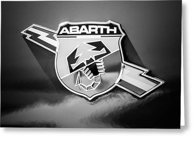Classic Fiat Greeting Cards - Fiat Abarth Emblem -ck1611bw2 Greeting Card by Jill Reger
