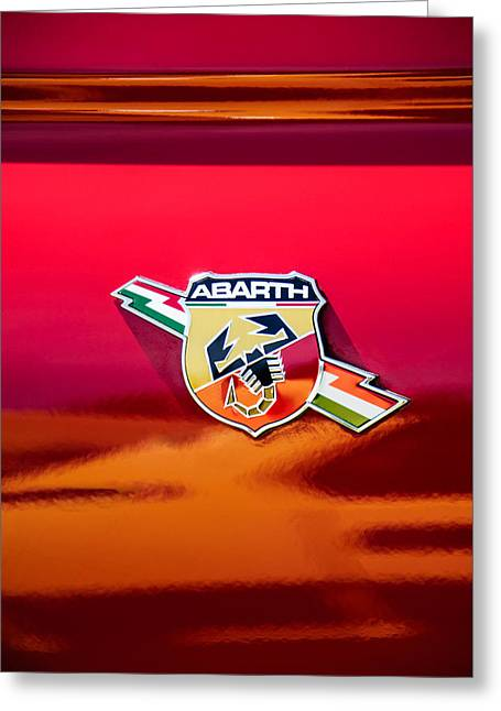 Classic Fiat Greeting Cards - Fiat Abarth Emblem -ck1611c Greeting Card by Jill Reger