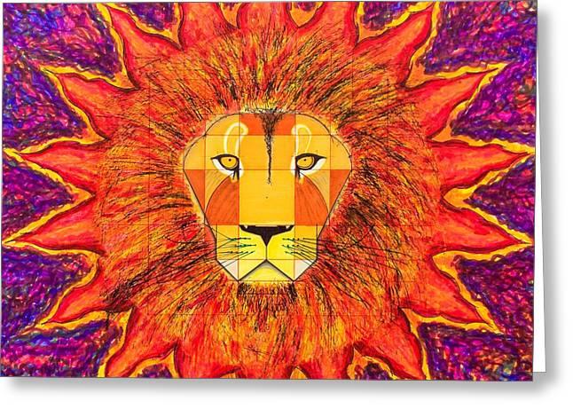 Visionary Artist Greeting Cards - Fibonacci Lion Greeting Card by Ernesto Barreiro