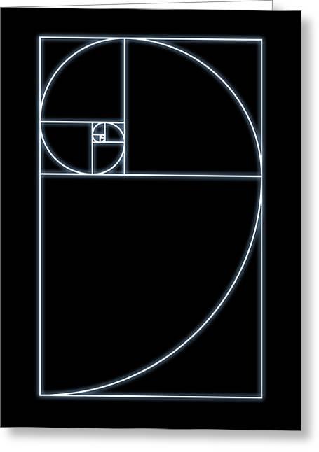 Maths Greeting Cards - Fibonacci Spiral, Artwork Greeting Card by Seymour