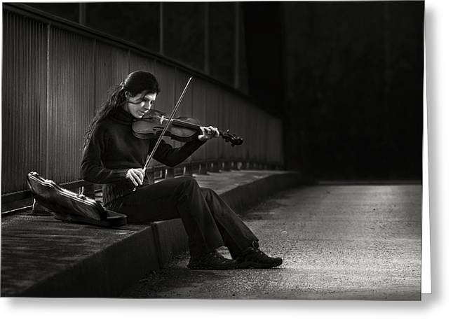 Moods Greeting Cards - Fiddler Greeting Card by Christoph Hessel