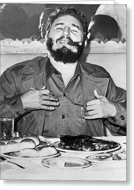 Fidel Castro In New York Greeting Card by Underwood Archives
