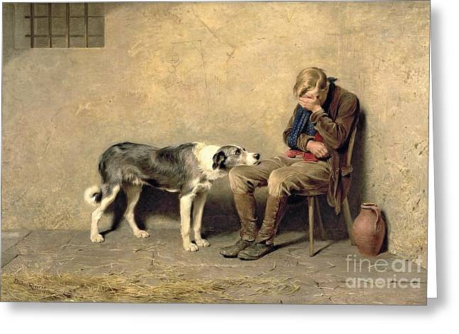Dogs Paintings Greeting Cards - Fidelity Greeting Card by Briton Riviere