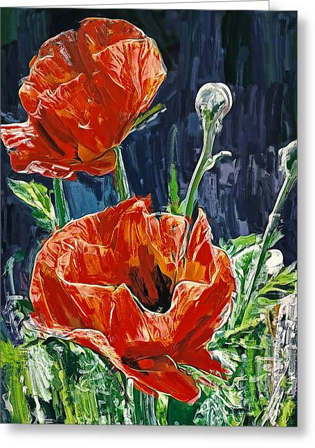 Field Flowers Red Greeting Card by Yury Malkov