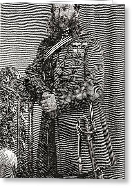 Soldier Illustrations Greeting Cards - Field Marshal Sir John Linthorn Arabin Greeting Card by Ken Welsh