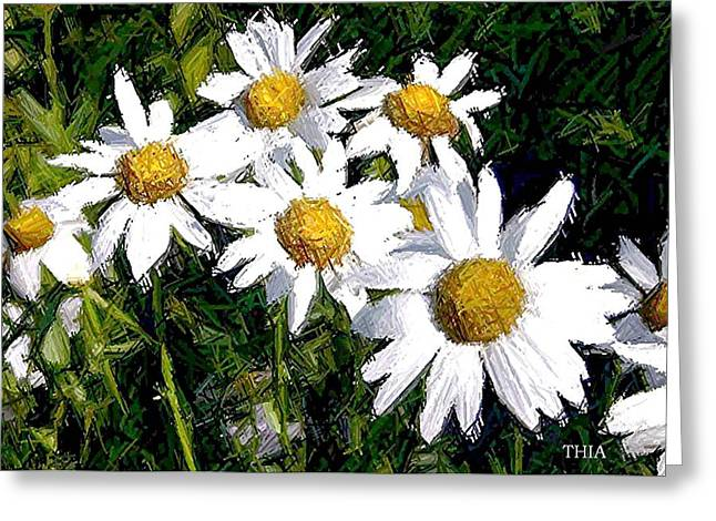Daisy Tapestries - Textiles Greeting Cards - Field of Daisies Greeting Card by Thia Stover