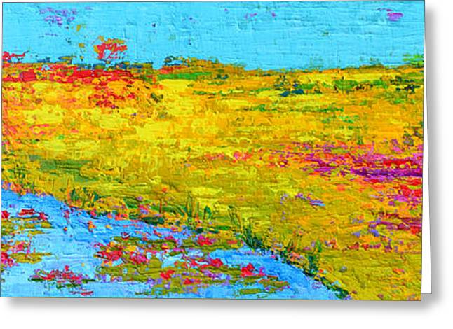 Field Of Flowers And Waterlily Pads Pond Modern Abstract Landscape Painting - Palette Knife Work Greeting Card by Patricia Awapara