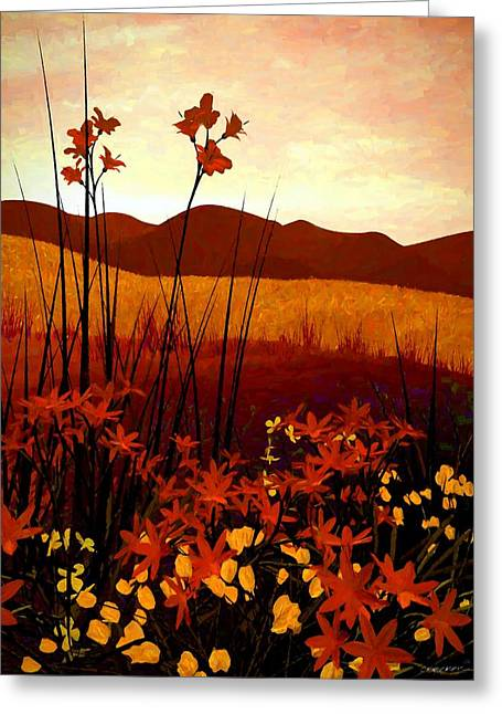 Warm Landscape Greeting Cards - Field of Flowers Greeting Card by Cynthia Decker