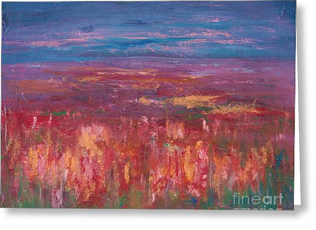 Heather Paintings Greeting Cards - Field of Heather Greeting Card by Julie Lueders