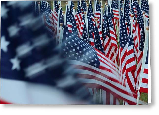 Flag Of Usa Greeting Cards - Field of Honor - American Flags in Motion Greeting Card by Matt Plyler