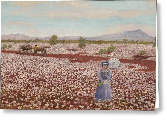 Horse And Cart Greeting Cards - Field of Pink Everlastings Greeting Card by Jocelyn McMath