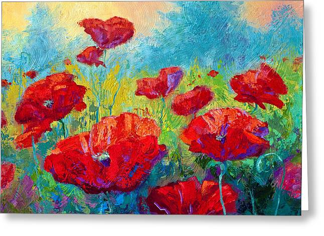 Landscape. Scenic Paintings Greeting Cards - Field Of Red Poppies Greeting Card by Marion Rose