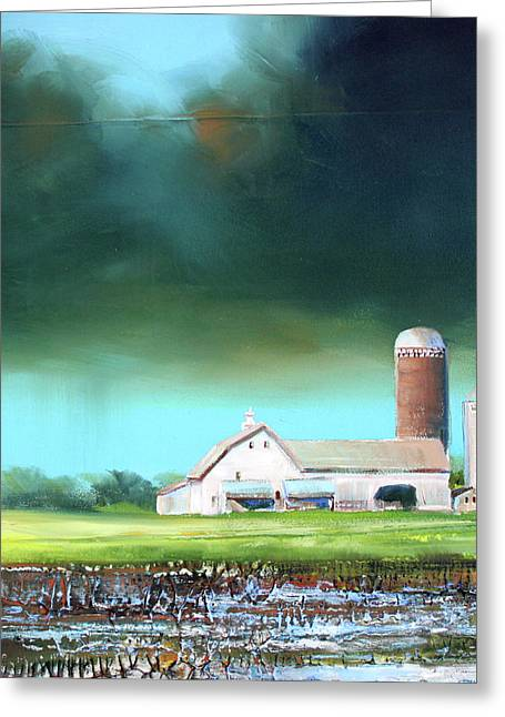 Field. Cloud Greeting Cards - Field Puddles Greeting Card by Toni Grote
