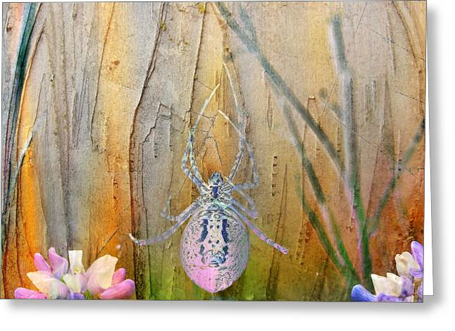 Spider Flower Greeting Cards - Field Trip - Spidey Greeting Card by Ed Hall