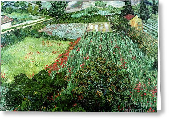 Rural Landscapes Paintings Greeting Cards - Field with Poppies Greeting Card by Vincent Van Gogh