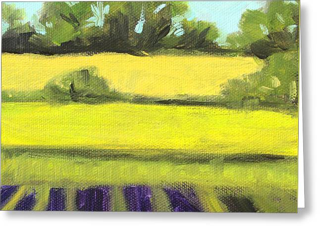 Warm Summer Paintings Greeting Cards - Field Work Greeting Card by Nancy Merkle