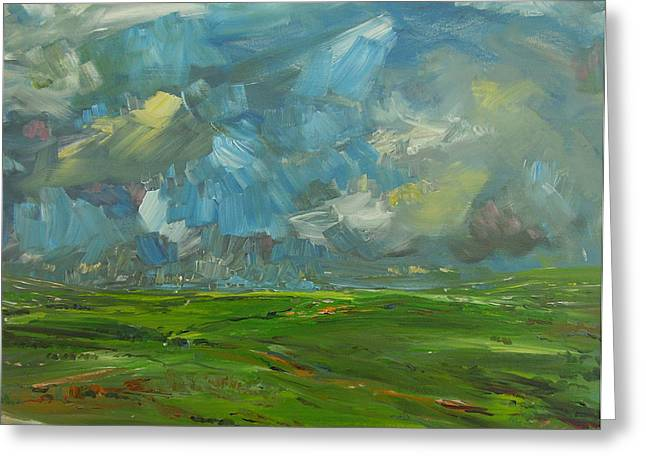 Ennistymon Greeting Card featuring the painting Fields And Clouds County Clare by Eamon Doyle