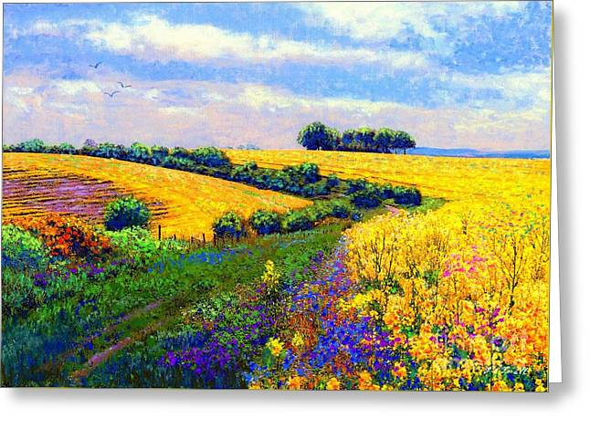 Bright Paintings Greeting Cards - Fields of Gold Greeting Card by Jane Small