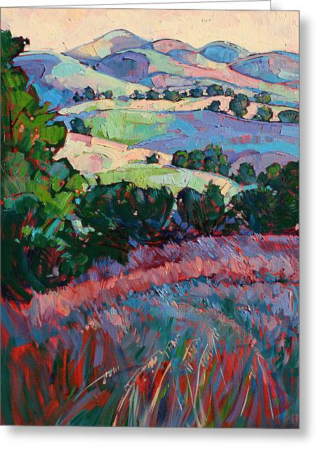 Paso Robles Greeting Cards - Fields of Green Greeting Card by Erin Hanson