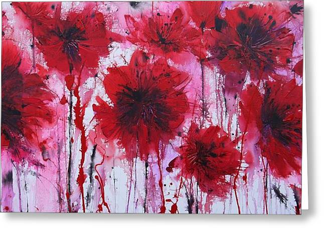 Floral Art Greeting Cards - Fields Of Poppies Greeting Card by Irina Rumyantseva