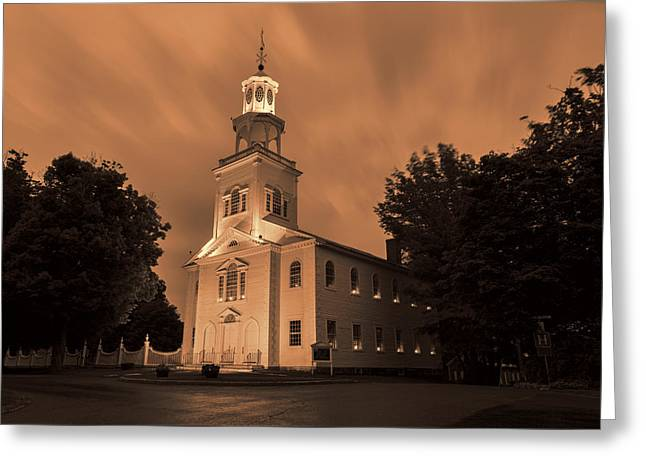 Trees Light Windows Greeting Cards - Fierce Grace - First Church Bennington Greeting Card by Stephen Stookey