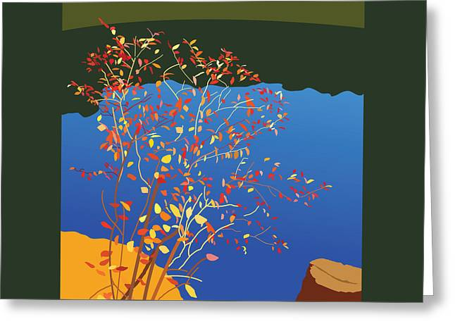 Fall Trees Greeting Cards - Fiery Bush Greeting Card by Marian Federspiel