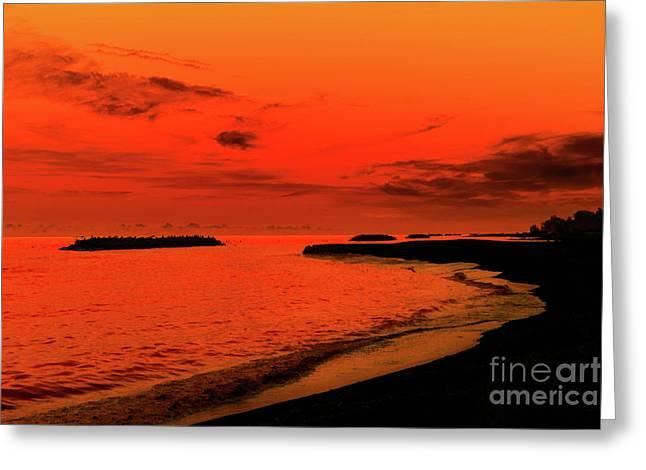 Fiery Lake Sunset Greeting Card by Randy Steele