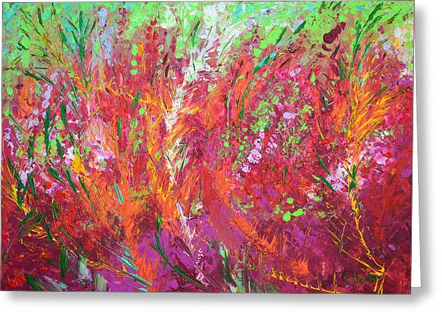 Red Abstracts Greeting Cards - Fiery Meadow Greeting Card by Adriana Dziuba