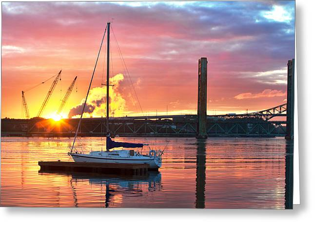 Maine Waterfront Greeting Cards - Fiery Portsmouth Sunset Greeting Card by Eric Gendron