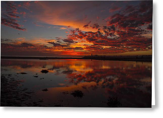 Fiery Reflection At Twin Lakes Greeting Card by David Levy