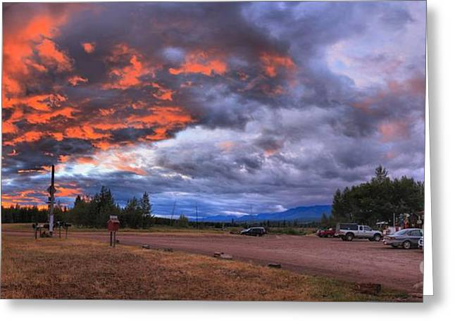 Saloons Greeting Cards - Fiery Skies Over The Polebridge Marcantile Greeting Card by Adam Jewell