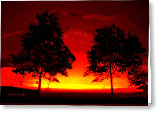 Abstractart Greeting Cards - Fiery Sundown Greeting Card by Gerlinde Keating - Keating Associates Inc