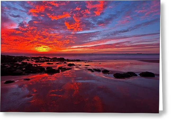 Fiery Sunset Greeting Card by Heather Thorning